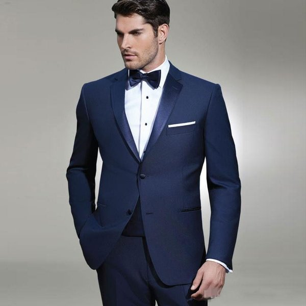 Fantastic Style Two Buttons Blue Wedding Bräutigam Smoking Kerbe Revers Groomsmen Mens Dinner Blazer Anzüge (Jacke + Hose + Krawatte) NO: 1799