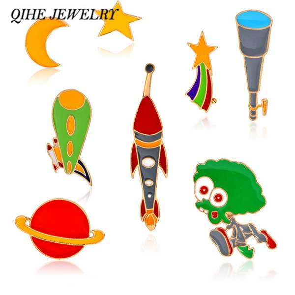 QIHE JEWELRY Cosmic Pins & Brooches Star Moon Rocket Alien Telescope Design Galaxy Space Jewelry Astronomy Lover Gift