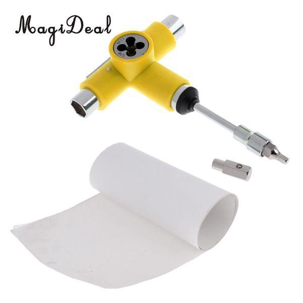MagiDeal Skateboard Deck Sandpaper Grip Tape Skating Board + Longboard Wrench