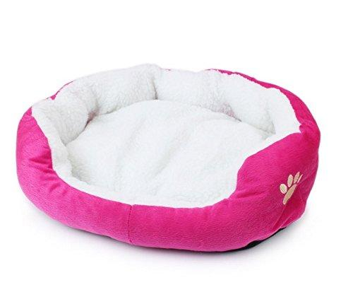 Dimple Fleece/ Textile Dog Cave Bed Pet Nesting Cats Bed Small Dogs Houses Cat Supplies Round Shape Rose