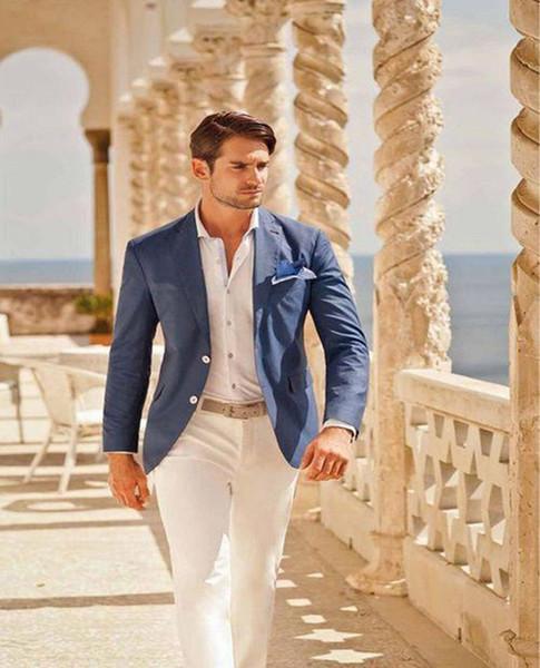 2019 синий и белый жених смокинги бизнес лучший мужчина тонкий костюм вечерние костюмы (свадьба + брюки)