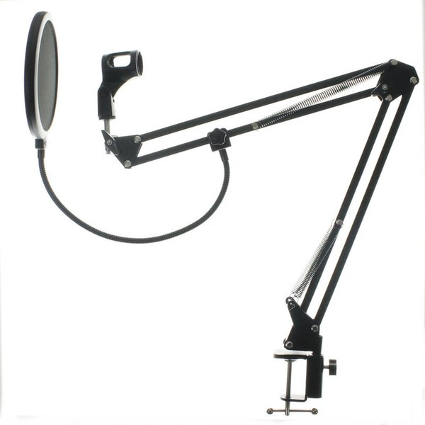 NB-35 Microphone Suspension Boom Scissor Arm Stand with Mic Clip Holder Pop Filter Windscreen Mask Shield with Stand Clip Kit