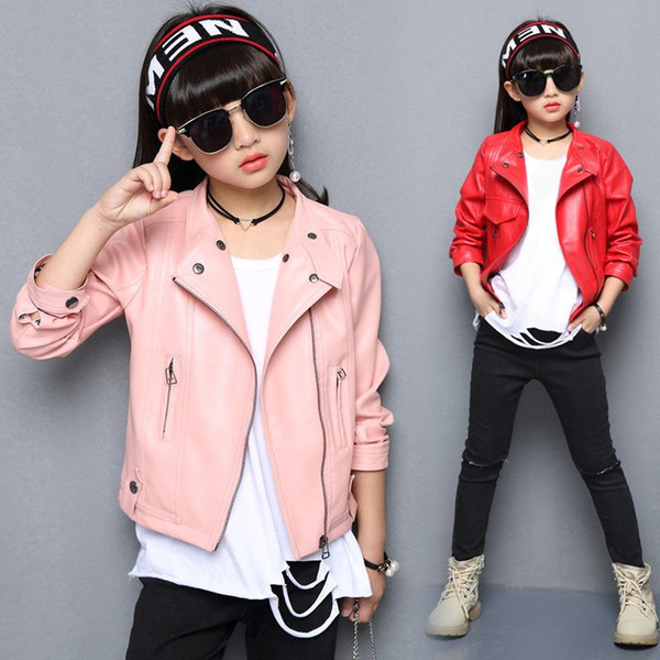 Fashion PU Leather Jackets for Girls 2018 New Autumn Spring Kids Coat 4 5 6 7 8 9 10 11 12 13 14 Years Childrens Outerwear