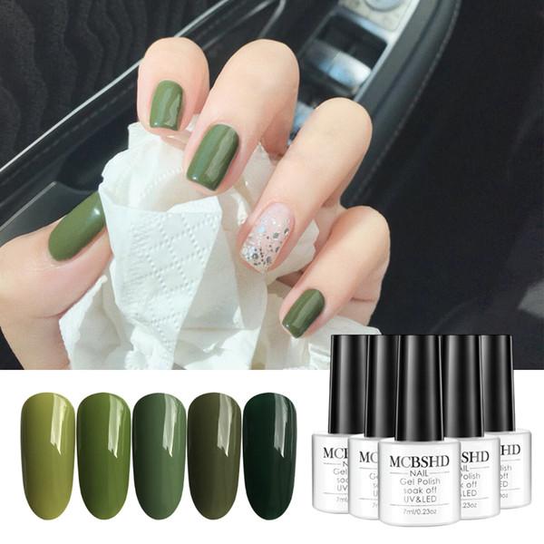 Mcbshd Gel Nail Polish Olive Green Pure Color Varnishes Semi Vernis Permanant Polish Gel Lacquer Uv Led Soak Off Art Nail Nail Gel Overlay Artistic