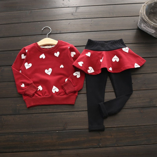 2pcs Autumn Winter Toddler Baby Girl Kid Shirt Top+Pants Clothes Outfit Set 2-7Y Hot Selling Y1892906