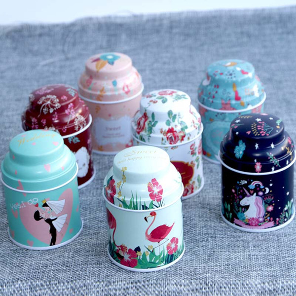 European style Flower Tea Tins Cans Wedding favor gifts container storage boxes 100pcs lot free shipping wholesales