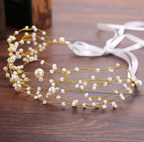 Multi layered netted bridal handmade pearl hair band headwear wedding dress accessories with hair bridal ornaments