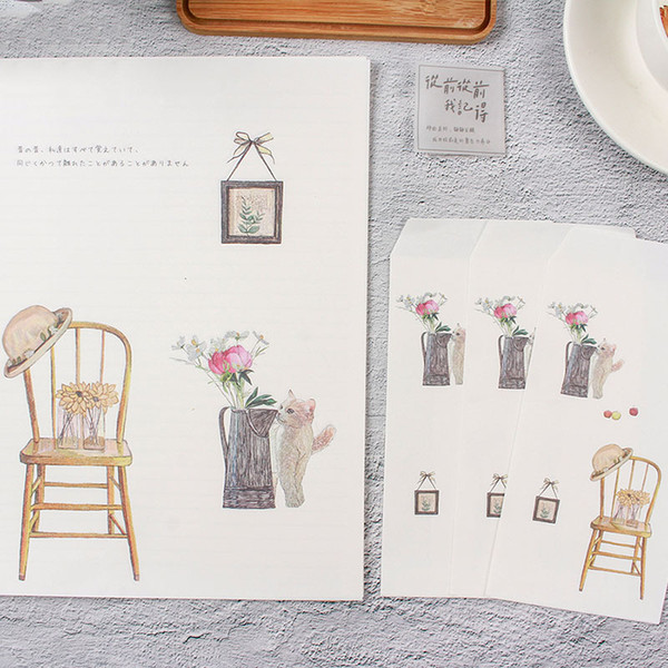 Cute Flowers Envelope Simple Life Writing Paper Kawaii Letter Papers Greeting Card Holder For New Year Gifts Lovely Stationery