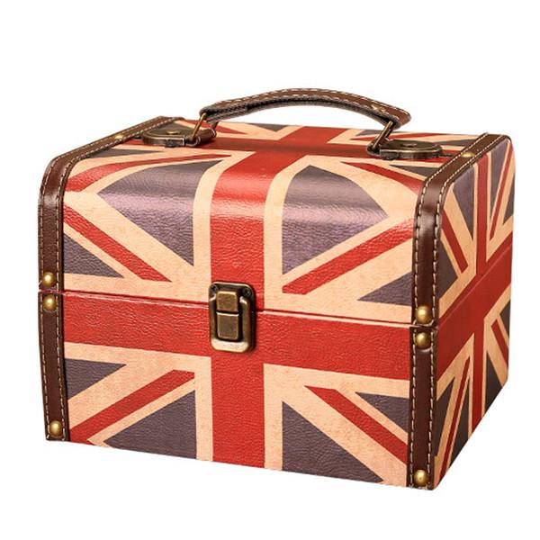 Amerikanischen Retro Britischen Stil Flagge Modell Schmuckschatulle Aufbewahrungsboxen Ornament Kreative Leder Kleinigkeiten Lagerung Finishing Kleine Box
