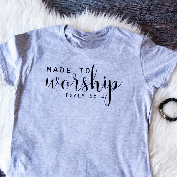 Acheter Fait Pour Vénérer T Shirt Chrétien Des Années 90 Femmes Mode Tees Coton Unisexe Tops Citation Chemise Slogan Vintage T Shirt Vente Chaude Art