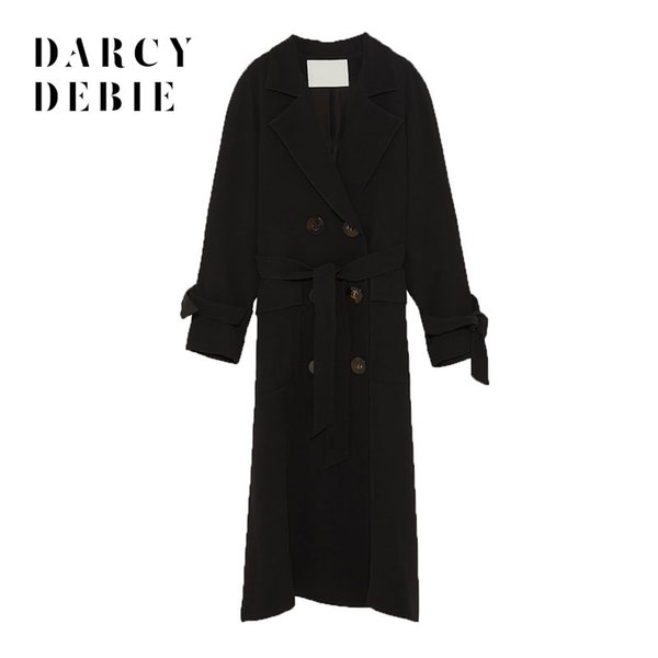 Darcydebie Herbst / Winter Damenmode Lässig Umlegekragen Volle Hülse Bogen Taille Lace-up Zweireiher Langen Trenchcoat