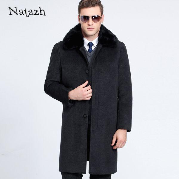 Wholesale-NATAZH 2017 New Man Wool Coat High Quality Winter Jacket Men Warm Woolen Long Cashmere Coats Business Gentleman