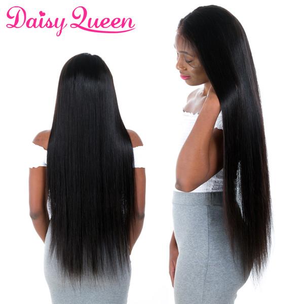 Uzun Düz Dantel İnsan Saç Peruk Kadınlar Için Ön Koparıp Brezilyalı Bakire Remy Dantel Ön İnsan Saç Peruk Bebek Saç Ile