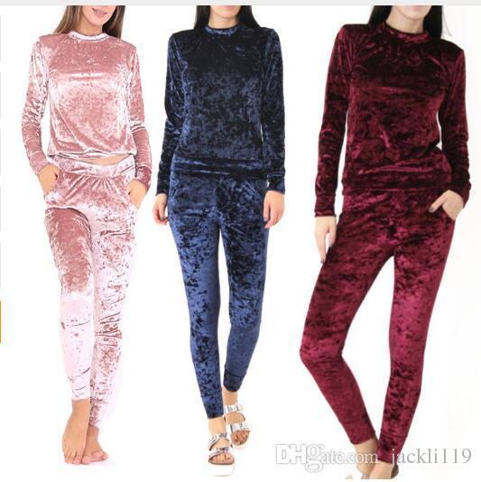 Women Crushed Long Sleeve Soft Solid Color slim Velvet Suit set Sweatshirt Pant Tracksuit Wear sport suit set clothing