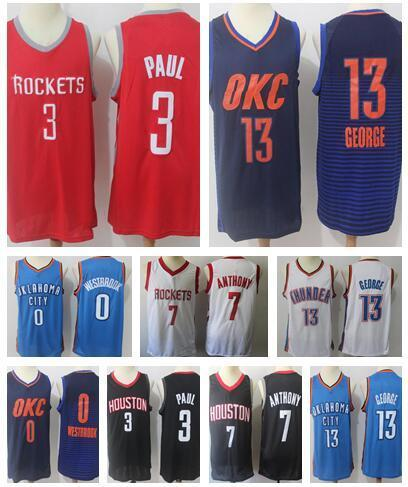 separation shoes 09cbd b67ac 2018 2018 Houston Rockets Adult 13 James Harden 3 Chris Paul 7 Carmelo  Anthony Oklahoma City 0 Russell Westbrook Thunder Jersey 13 Paul George  From ...