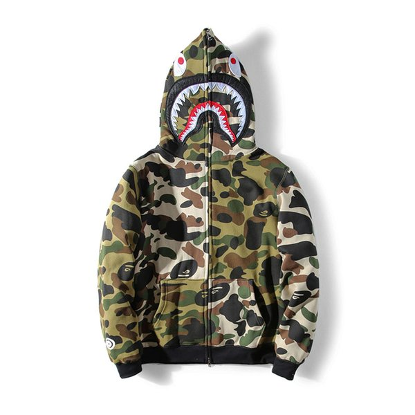 Fashion Clothes Colorblock Camouflage Men \' ;S Jacket Shark Mouth Print Oversize Velvet Sweater Zipper High Quality Casu