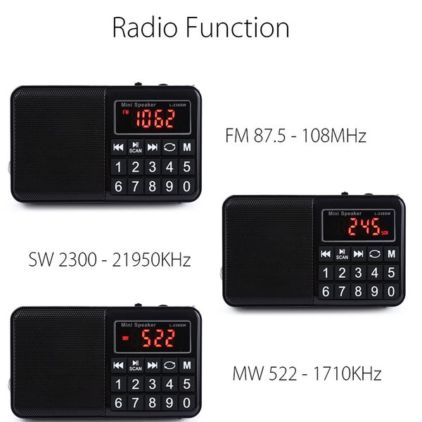 FM/MW/SW Radio Stereo Speaker Multifunctional TF Card USB Aux PC Mobile Phone LCD Screen Portable MP3 Music Player Rechargeable