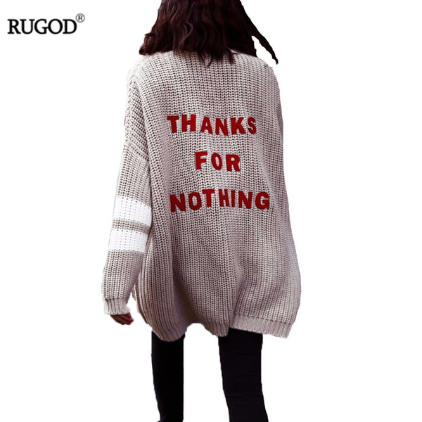 Rugod 2018 Fashion Letter Embroidery Cardigan Feminino Women Winter Warm Sweater Female Casual Long Cardigan Poncho Pull Femme S118