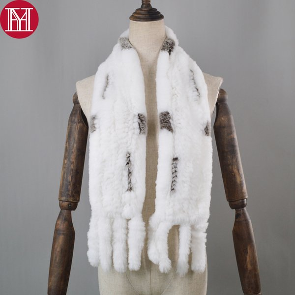 2018 Women Real Rex Rabbit Fur Scarf Genuine Rex Rabbit Fur Worm And Soft Ring Neckerchief Knitted Tassel Scarves