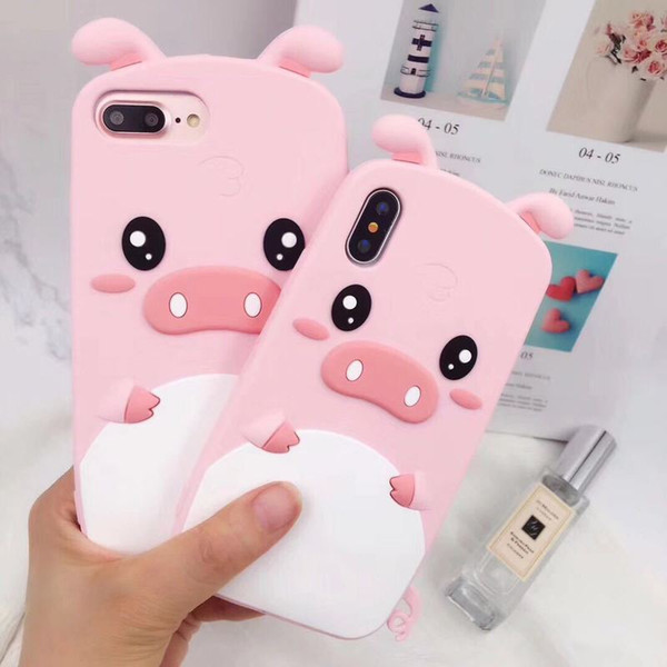 Cute Designer For iPhone XS Max XR 8P 7 6 SE 3D Cartoon Pink Pig Animal Soft Rubber Silicone Shockproof Drop Protection Bumper Case Cover