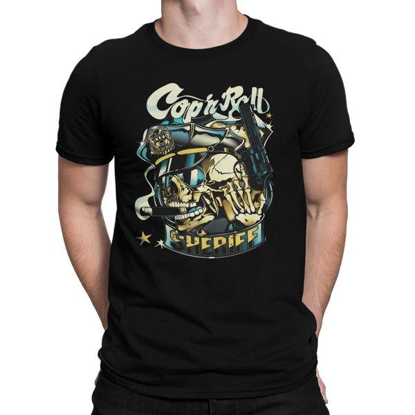 Cop And Roll Skull Sheriff Rockabilly Vintage Fashion Men T-shirt Men Brand  Clothihng Top Quality Fashion Mens T Shirt 100%Cotton 74b765b354a9