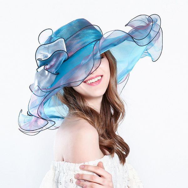 2018 Organza Sun Hat Women Summer New Anti-UV Sun Hat Big Bow Net Yarn Hat Beach Caps Elegant Church Hats for Women Wedding Accessories
