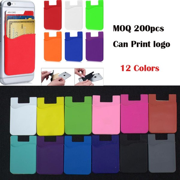 OEM print customer logo Silicone Wallet Credit Card Pocket Bag Card holder Slot Phone Back Cover Case for iphone Pouch With Adhesive Sticker