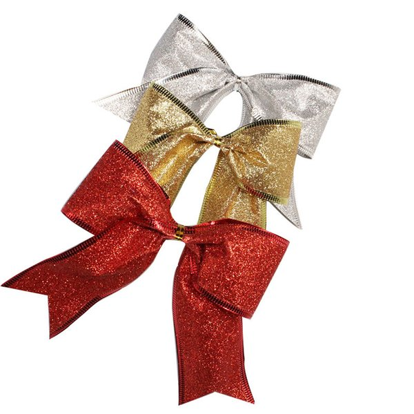 10pcs/lot Christmas Tree Pendant Decoration 13cm Sparkling Glitter Shimmer Bow Wedding Party Festive Decor Christmas Bows