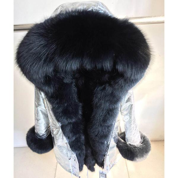 Genuine ilver fox fur collar hooded long ca ual parka women winter real raccoon fur lining coat jacket
