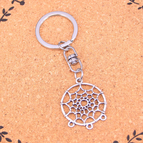 New Design native american dream catcher chandelier connector Keychain Car Key Chain Key Ring silver pendant For Man Women Gift