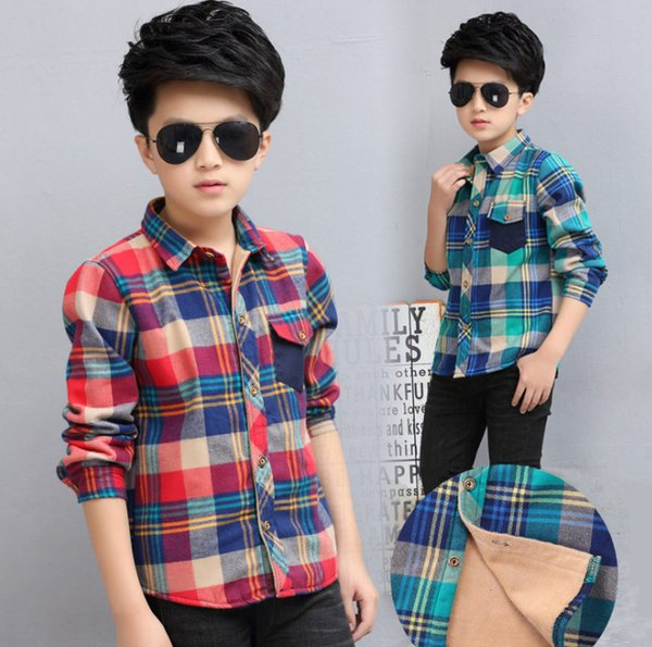Big boys plaid shirt kids lapel single breasted long sleeve casual lattice tops autumn winter children velvet thicken warm bottoming shirt F