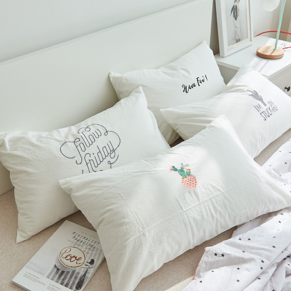 1pc Pillow Cover White Washed Cotton Pillow Case Cute Solid Color Embroidered Cactus Apple Bedroom Decorative Pillowcase