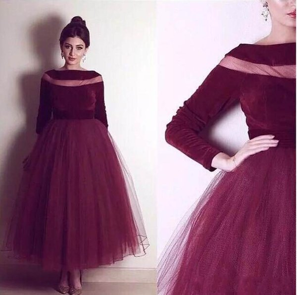 best selling 2018 Newest Wine Red Long Sleeve Evening Dresses Sheer Neck A-Line Pageant Party Dress Formal Evening Gowns