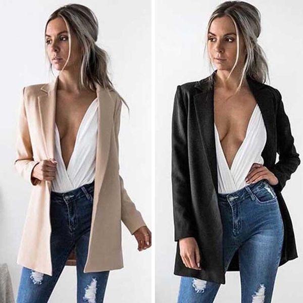 2017 Nuove donne di modo si adatta alle signore causali Blazer femminile allentato Blazer delle donne manica lunga inverno femminile solido Outwears