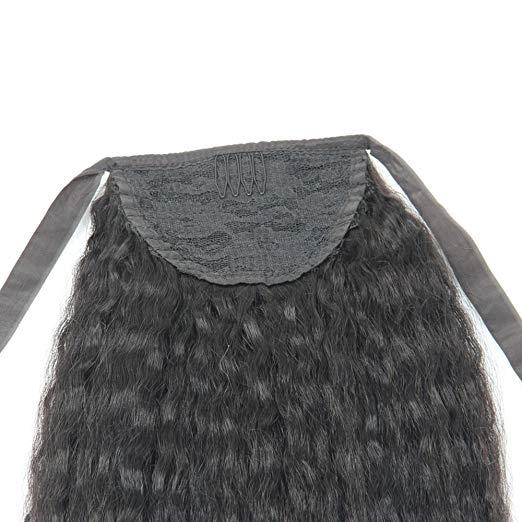 """Coarse Yaki Kinky straight women Pony tail 1pcs 14"""" 10A African human Ponytail hairpiece natural black 1b free shipping 100g"""