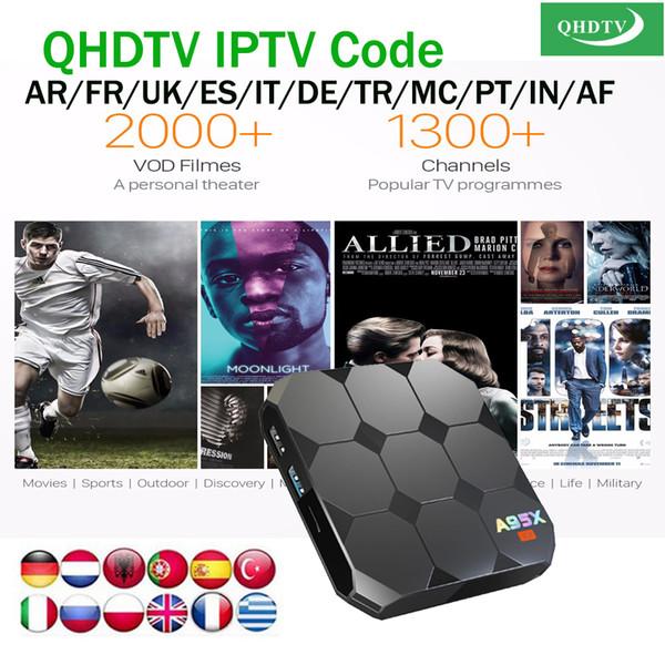 A95x R2 2 / 16GB Android 7.1 smart tv box avec QHDTV 1 année d'abonnement au code Chaînes iptv européennes pour Arabe Belgique Français Portugais