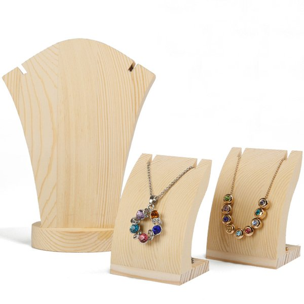 Wood Jewelry Necklace Display Stand Organizer Elegant Jewellery Pendant Charm Necklace Table Top Counter Shelf Kiosk Exhibition Prop