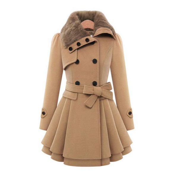 4 Colors Women Winter Coats Fake Fur Lapel Neck Woman Wool Like Coats Slim Fit Outerwears S - 4XL