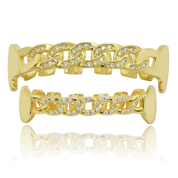 Custom Fit Fully CZ Cuban Fang Grills Iced-Out Bling Hip Hop Teeth Grill Top & Bottom GRILLs Set Chain Vampire Grills#hop