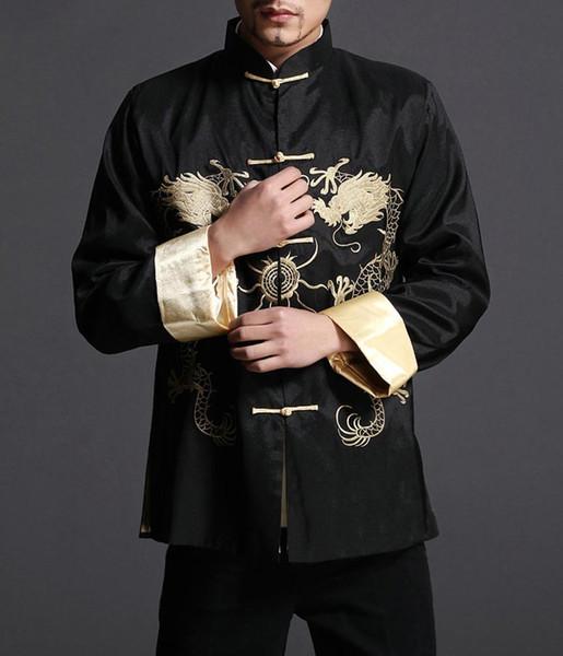 Camicia elegante con collo imbottito da uomo di Kung Fu, elegante giacca rossa - 100% seta # 107