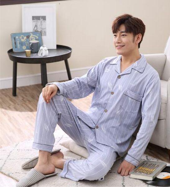 2017 Sexema Varış Moda Erkekler Uyku Bez Turn-aşağı Yaka Tüy Baskı Tam Kollu İpli Rahat Pijama Ücretsiz Nakliye