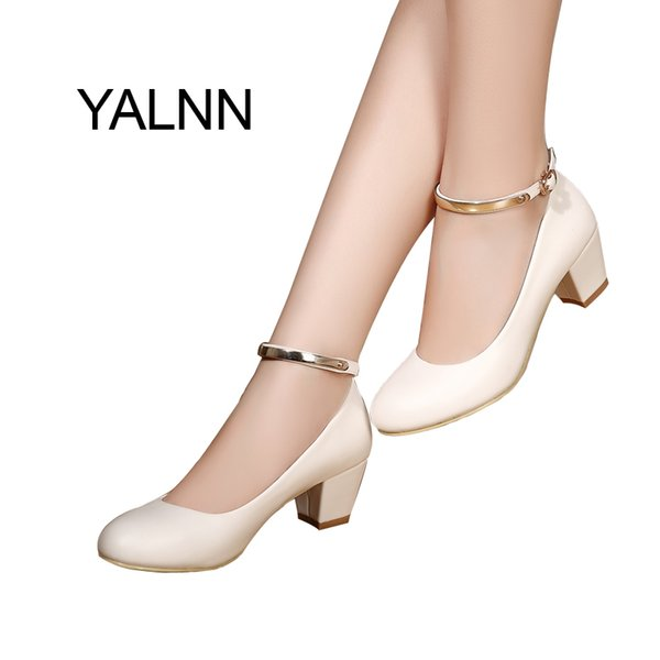 2019 YALNN Women's 5cm High Heels Pumps Office Lady Women Shoes Sexy Bride Party Thick Heel Round Toe Leather High Heel Shoes Dress