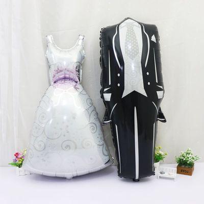 Nouveau grande taille mariée et le marié robes de mariée ballons en aluminium enfants jouets fête de mariage ballons décoratifs