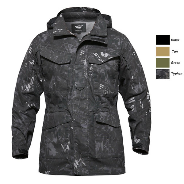 top popular Outdoor Clothing Woodland Hunting Shooting Coat Tactical Combat Winter Clothing Camouflage Windbreaker Tactical Outdoor M65 Jacket P05-216 2021