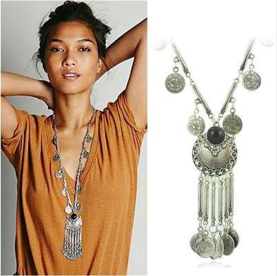 Bohemia Vintage Coin Long Necklace Colgante, Cadena de Plata Gypsy Tribal étnico Joyería de plata Collar de la borla para las mujeres XL-611