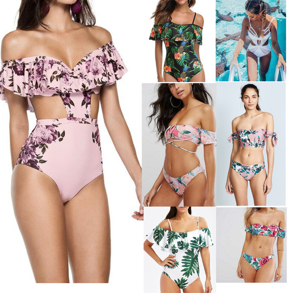 best selling new arrival Bkini fashion Lady flowers Stripped print Bikini Set sexy Hollow out Swimsuit Triangle ones pieces bikini set S M L XL