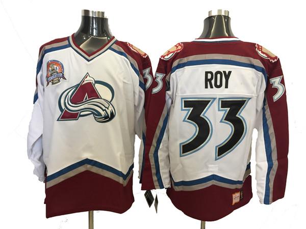 Vintage Colorado Avalanche Patrick Roy Camisetas de hockey Blanco 00-01 Season Home Vintage # 33 Patrick Roy Jersey con parche de la Copa Stanley 2001