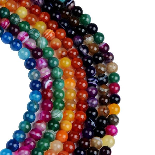 8mm Roxo Azul Verde Vermelho Faixa de Ágatas Beads Rodada Spacer Solta Natural Stone Beads Para Fazer Jóias DIY 4 6 8 10 12mm