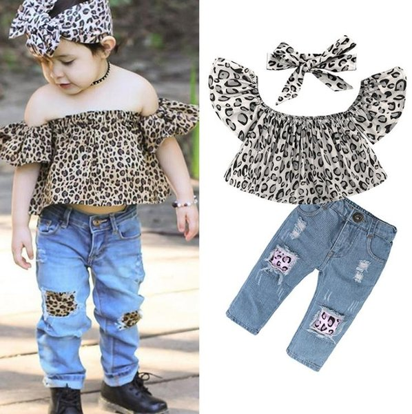 Toddler Kids Girl Clothes Summer 3PCS Baby Girl Outfits Leopard Off Shoulder Tops + Hole Jeans + headband Children Clothing Set
