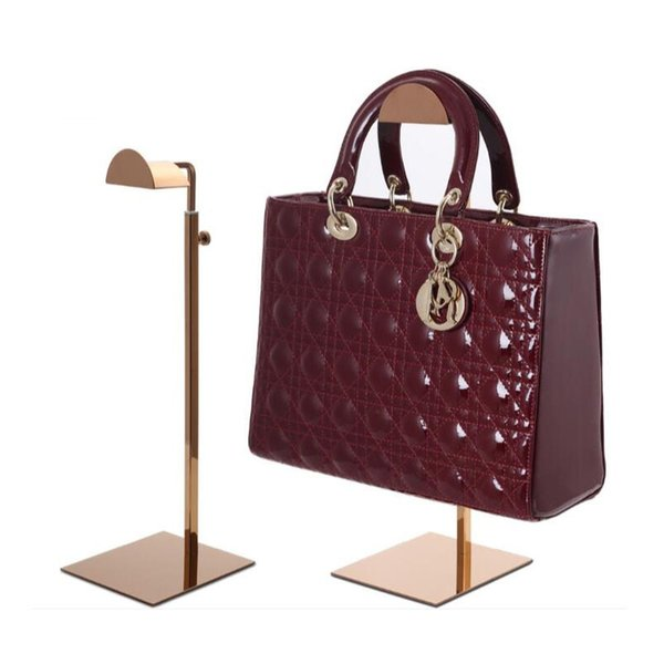 Schwarzes / rosafarbenes Goldmetallhandtaschen-Ausstellungsstand justierbare Frauenhandtaschenstandplatz-Beutelhalterzahnstange QW7169